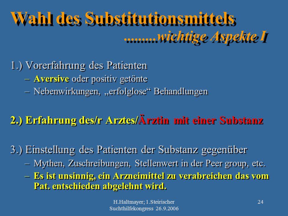 Wahl des Substitutionsmittels .........wichtige Aspekte I