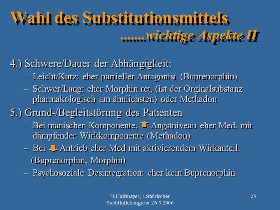 Wahl des Substitutionsmittels .......wichtige Aspekte II