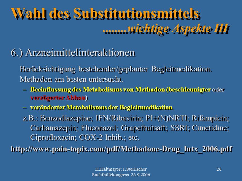 Wahl des Substitutionsmittels ........wichtige Aspekte III