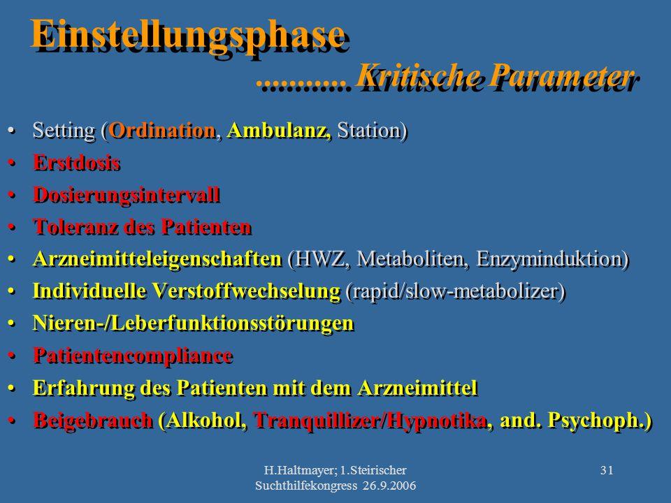 Einstellungsphase ........... Kritische Parameter