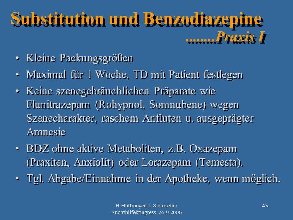 Substitution und Benzodiazepine ........Praxis I