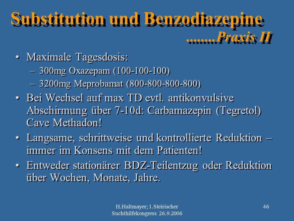 Substitution und Benzodiazepine ........Praxis II