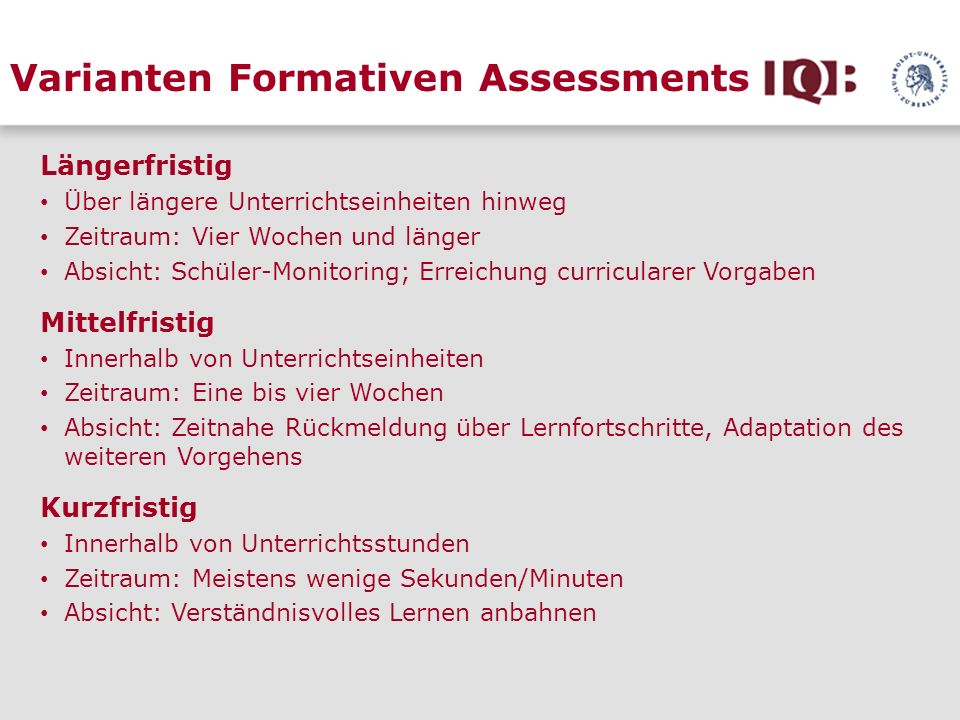 Varianten Formativen Assessments