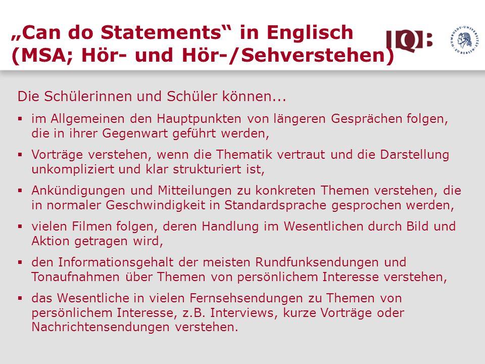 """""""Can do Statements in Englisch (MSA; Hör- und Hör-/Sehverstehen)"""