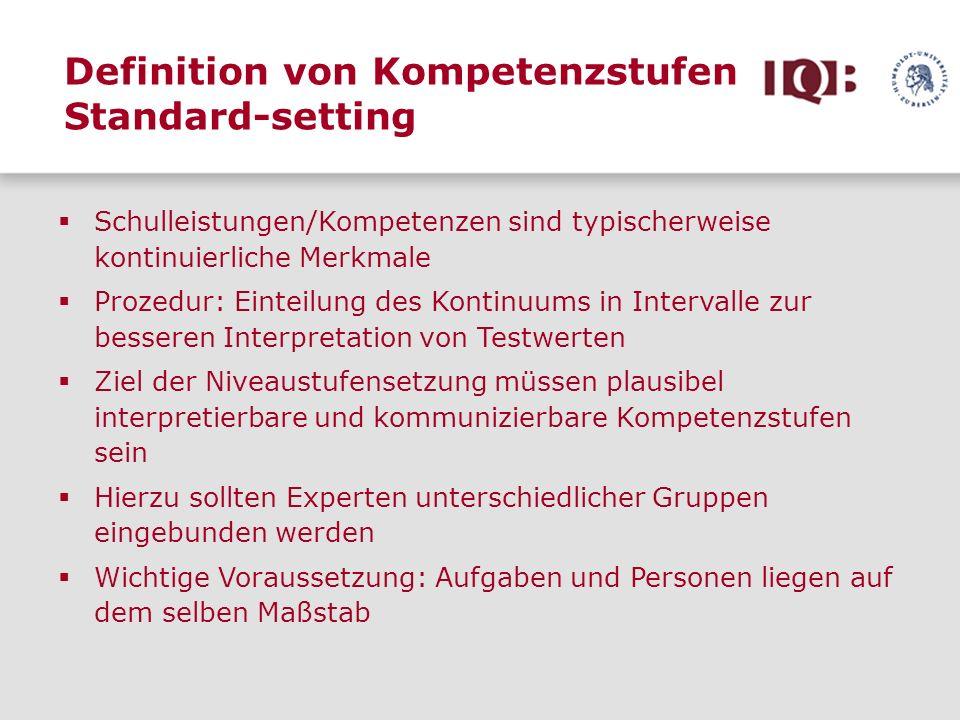 Definition von Kompetenzstufen Standard-setting