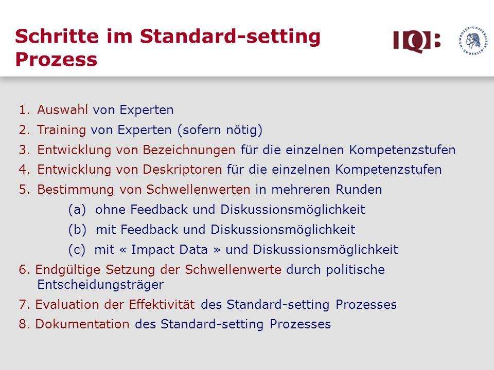 Schritte im Standard-setting Prozess