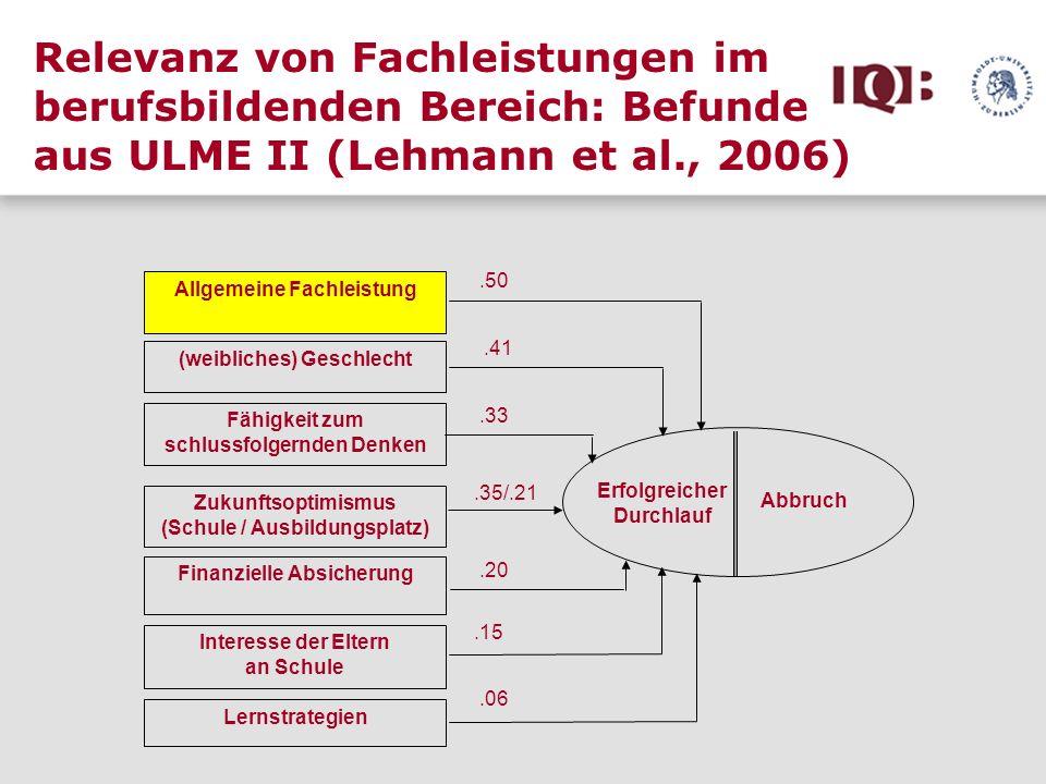 Relevanz von Fachleistungen im berufsbildenden Bereich: Befunde