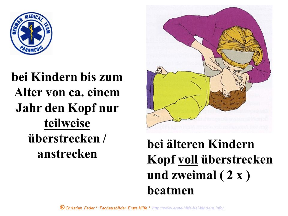 bei älteren Kindern Kopf voll überstrecken und zweimal ( 2 x ) beatmen