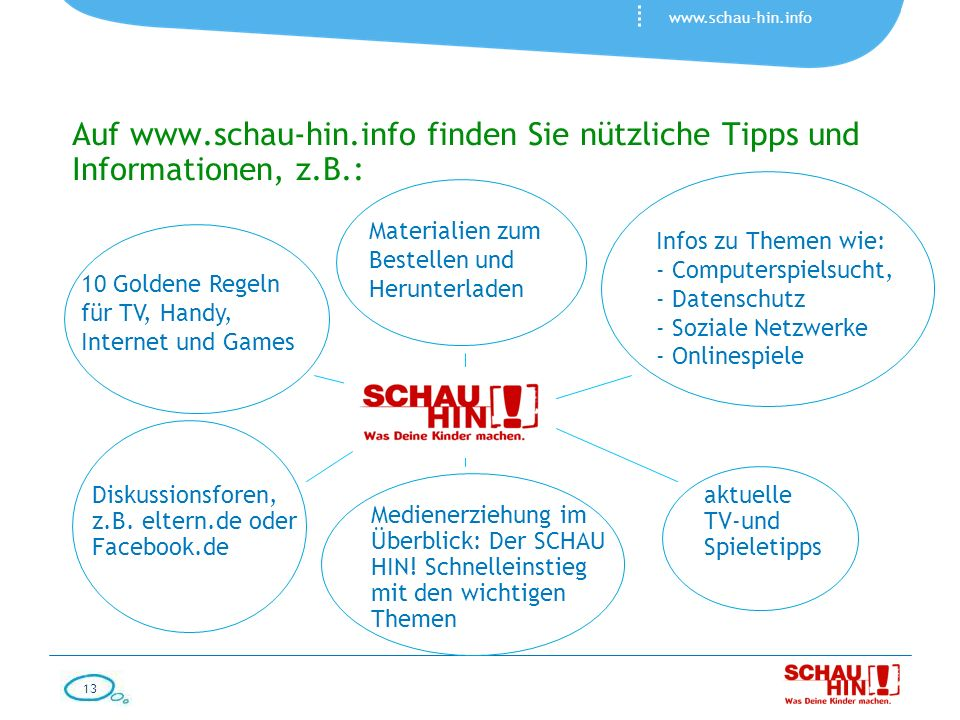 Auf www.schau-hin.info finden Sie nützliche Tipps und Informationen, z.B.: