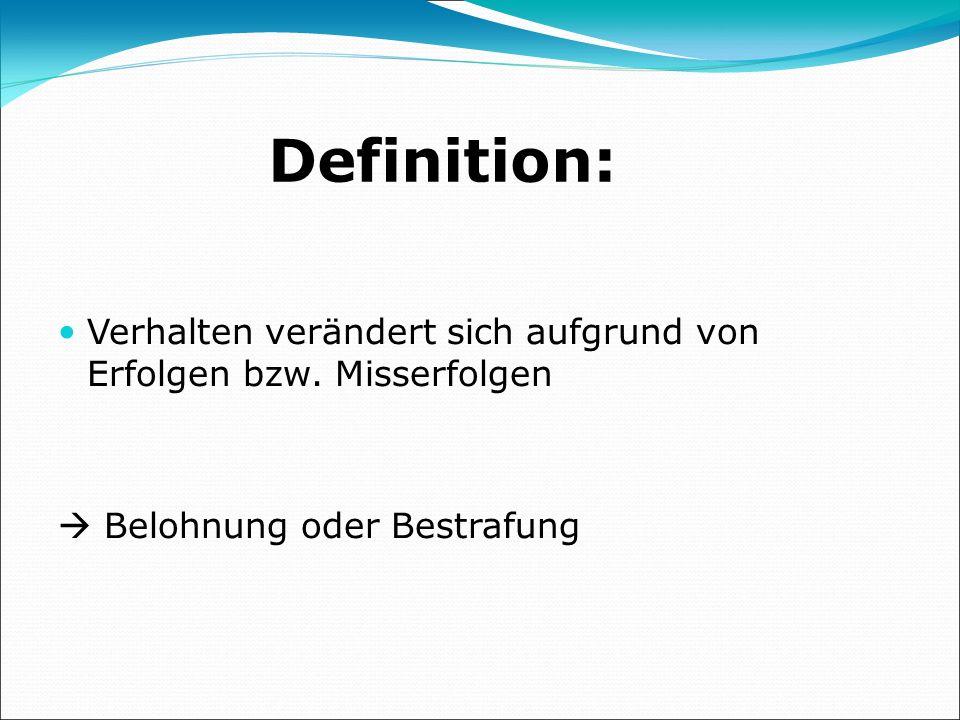 Definition: Verhalten verändert sich aufgrund von Erfolgen bzw.