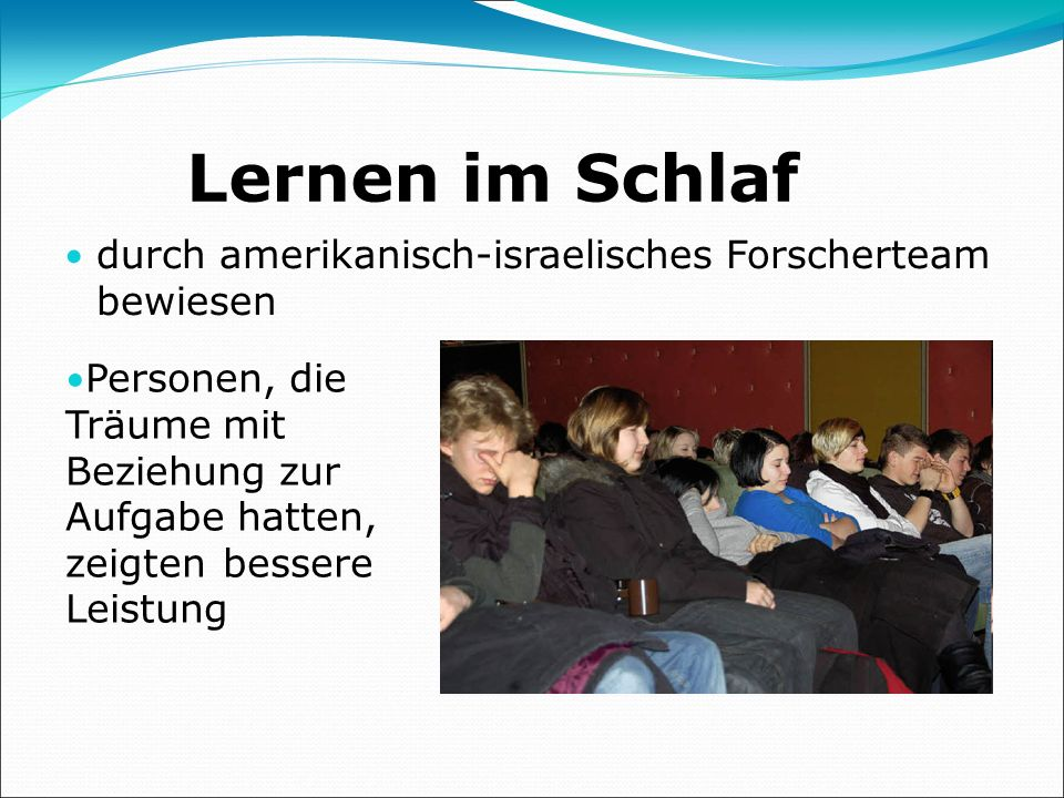 Lernen im Schlaf durch amerikanisch-israelisches Forscherteam bewiesen