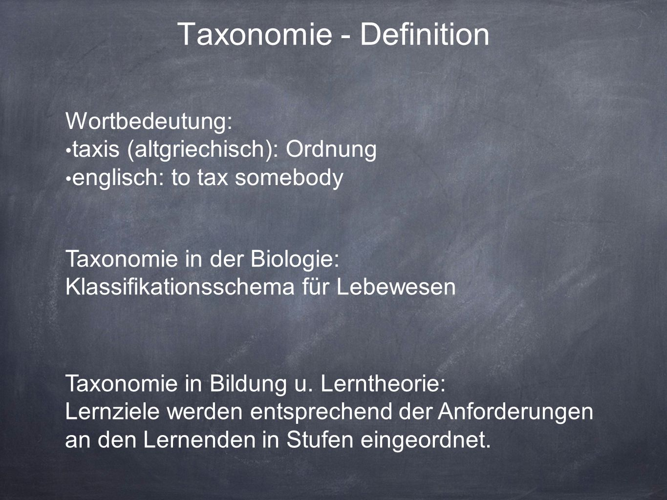 Taxonomie - Definition