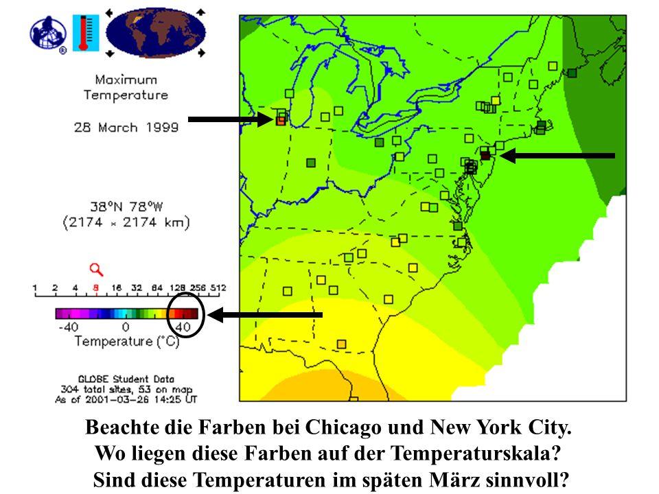Beachte die Farben bei Chicago und New York City.