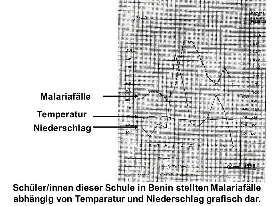 Malariafälle Temperatur. Niederschlag.