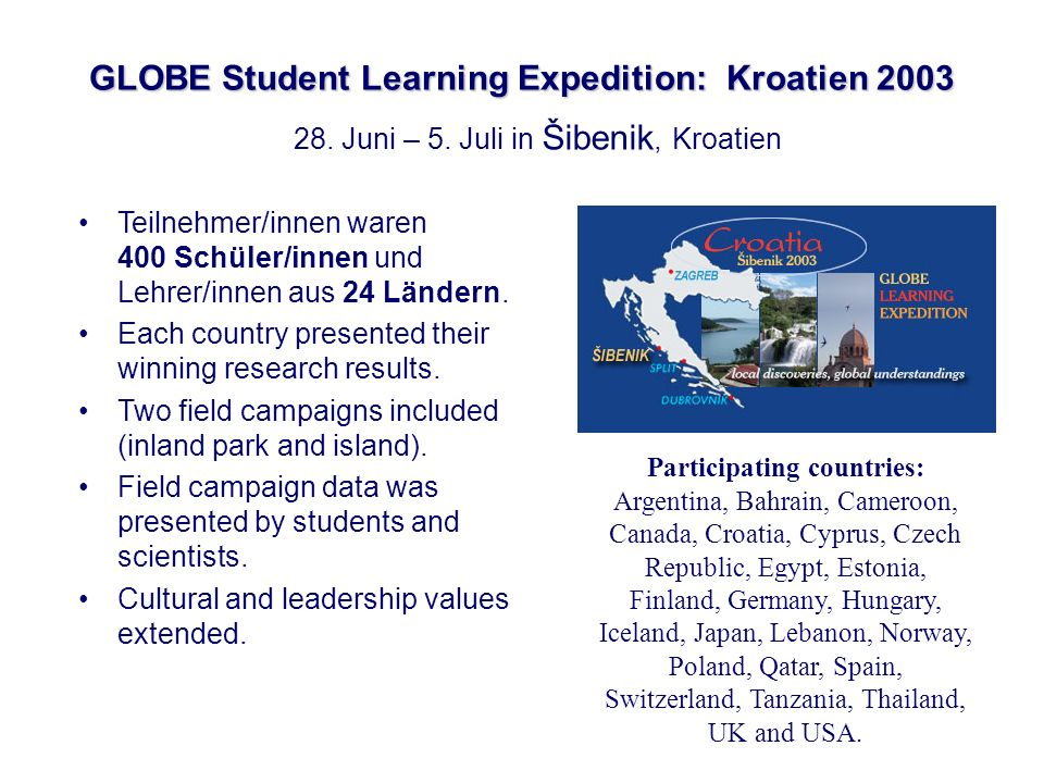 GLOBE Student Learning Expedition: Kroatien 2003