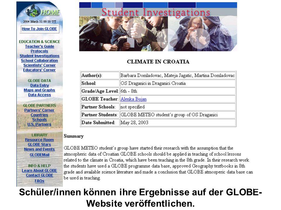 Schüler/innen können ihre Ergebnisse auf der GLOBE-Website veröffentlichen.