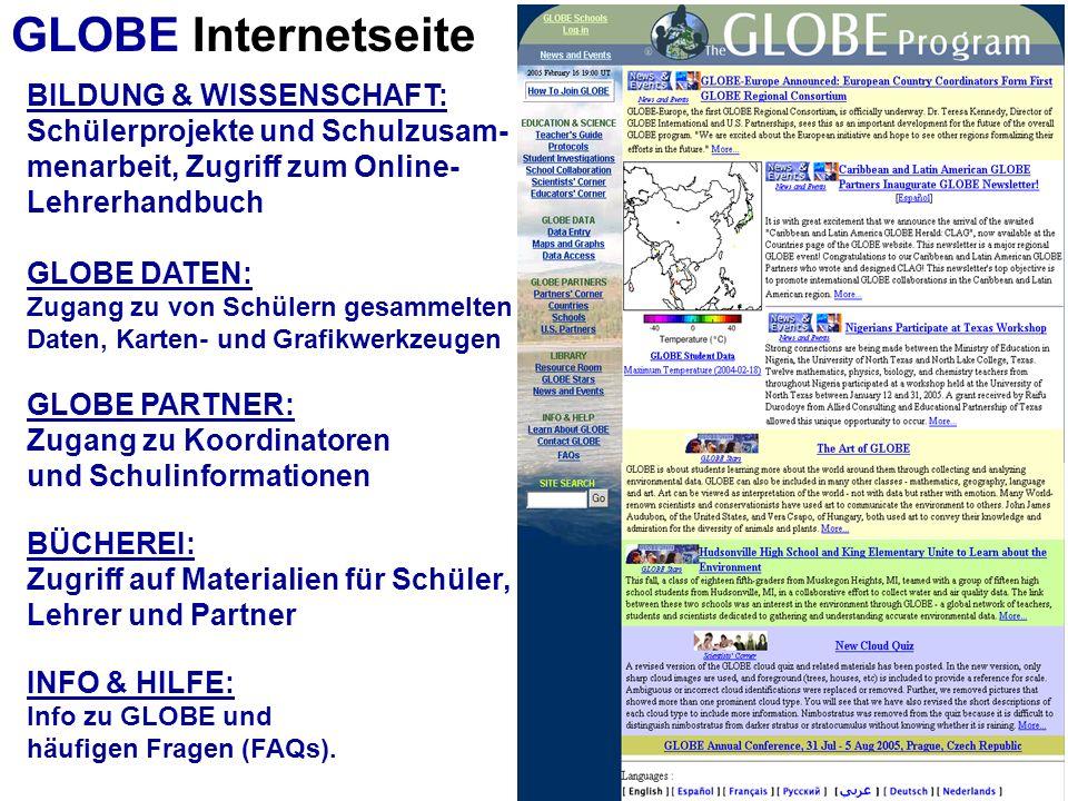 GLOBE Internetseite BILDUNG & WISSENSCHAFT: