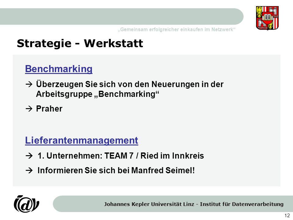 Strategie - Werkstatt Benchmarking Lieferantenmanagement