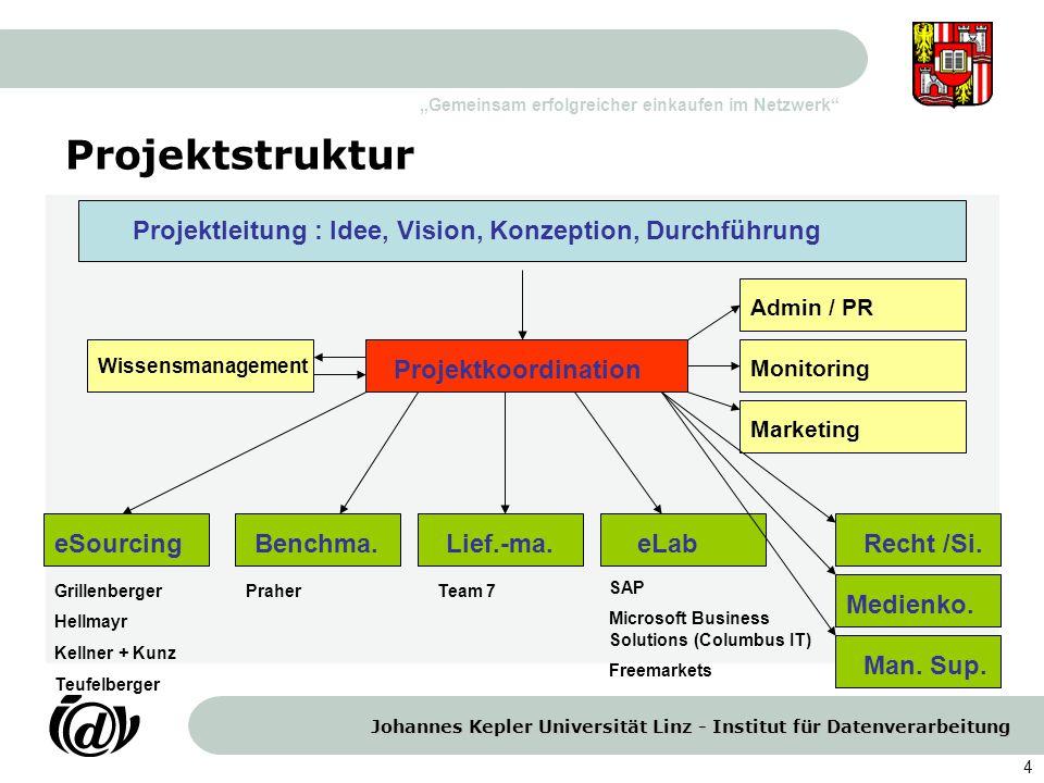 Projektstruktur Projektleitung : Idee, Vision, Konzeption, Durchführung. Admin / PR. Wissensmanagement.