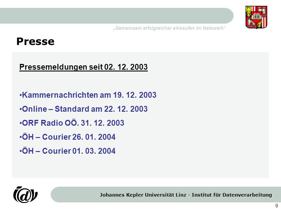 Presse Pressemeldungen seit 02. 12. 2003