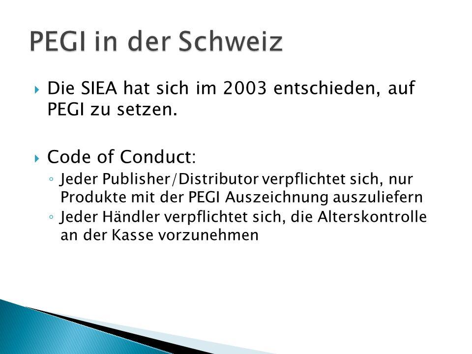 PEGI in der Schweiz Die SIEA hat sich im 2003 entschieden, auf PEGI zu setzen. Code of Conduct: