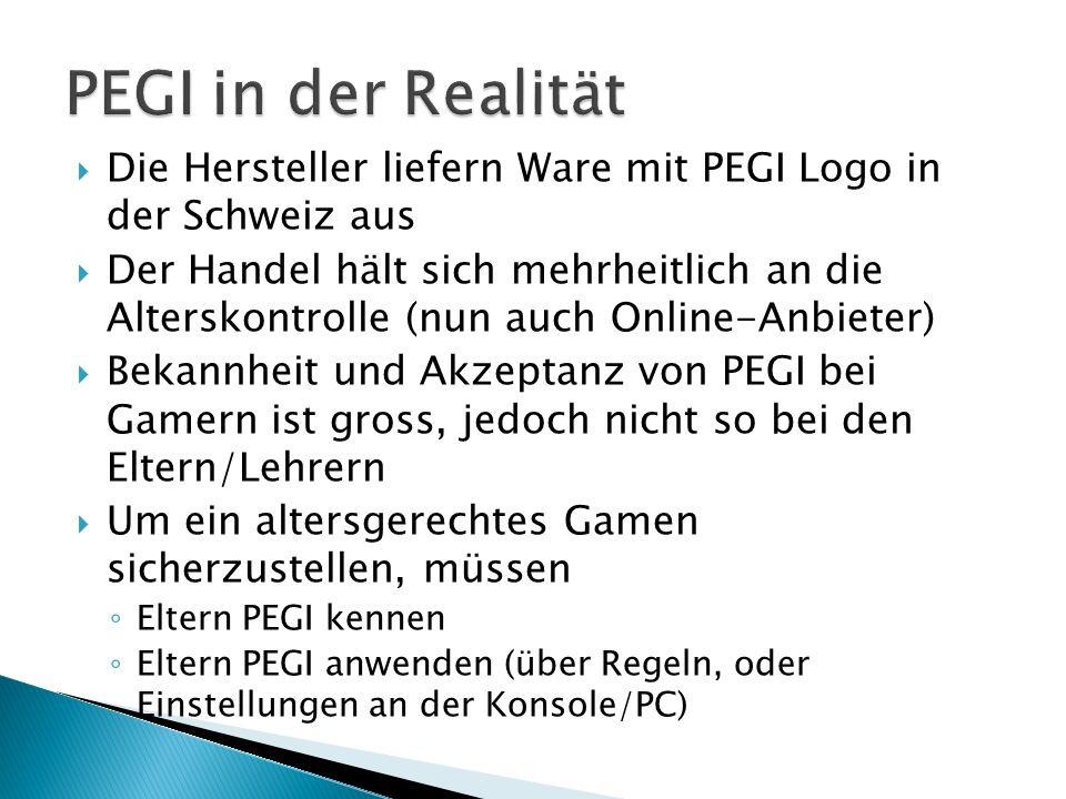 PEGI in der Realität Die Hersteller liefern Ware mit PEGI Logo in der Schweiz aus.