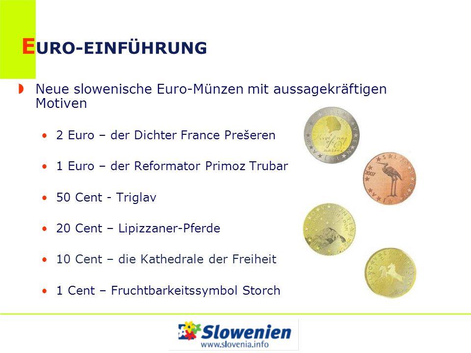 EURO-EINFÜHRUNG Neue slowenische Euro-Münzen mit aussagekräftigen Motiven. 2 Euro – der Dichter France Prešeren.