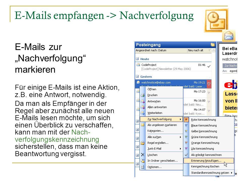 E-Mails empfangen -> Nachverfolgung