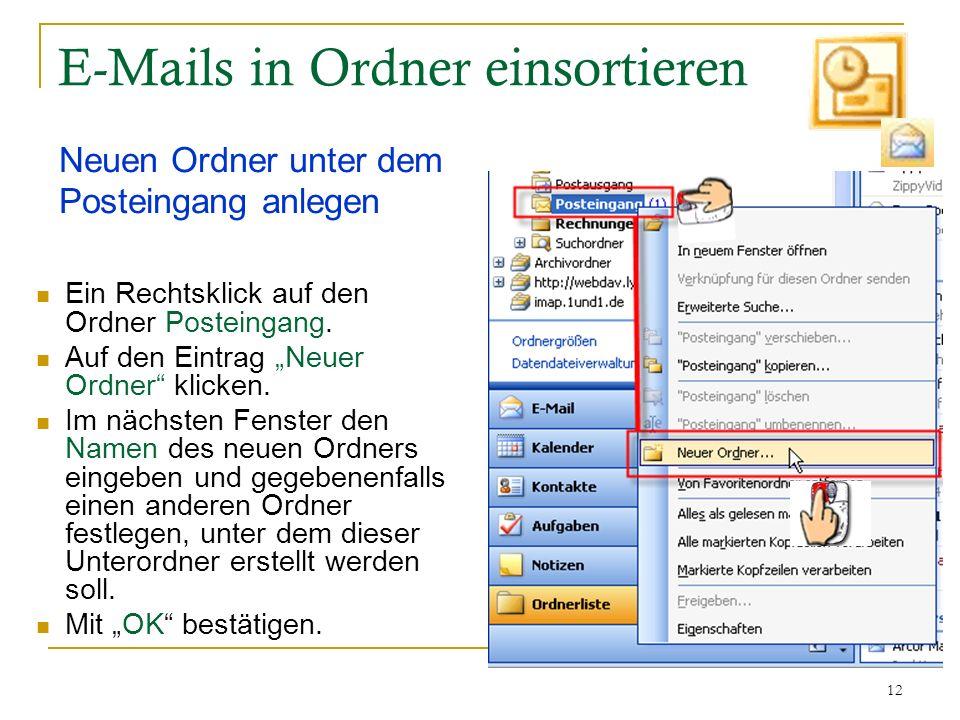 E-Mails in Ordner einsortieren