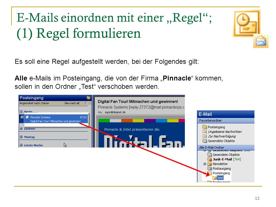 """E-Mails einordnen mit einer """"Regel ; (1) Regel formulieren"""