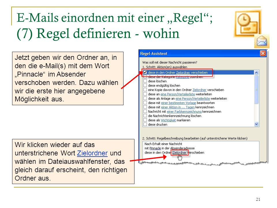 """E-Mails einordnen mit einer """"Regel ; (7) Regel definieren - wohin"""