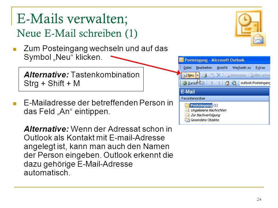 E-Mails verwalten; Neue E-Mail schreiben (1)