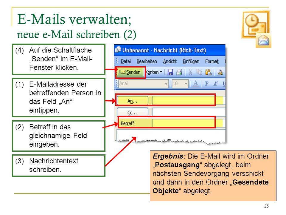 E-Mails verwalten; neue e-Mail schreiben (2)