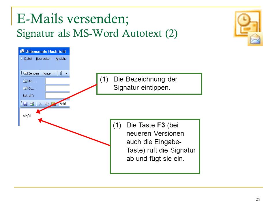 E-Mails versenden; Signatur als MS-Word Autotext (2)