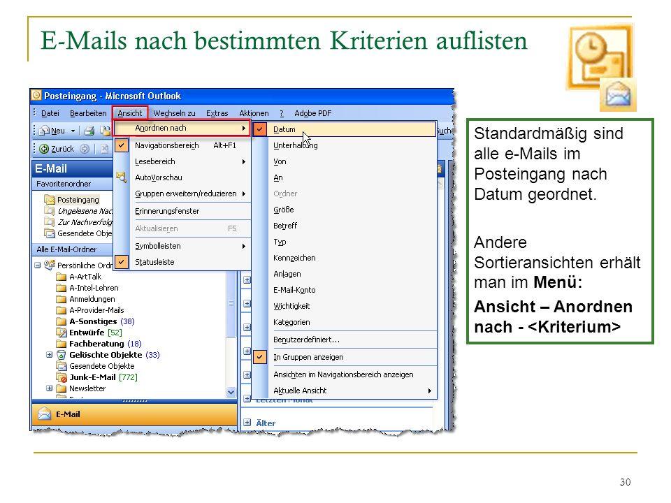 E-Mails nach bestimmten Kriterien auflisten