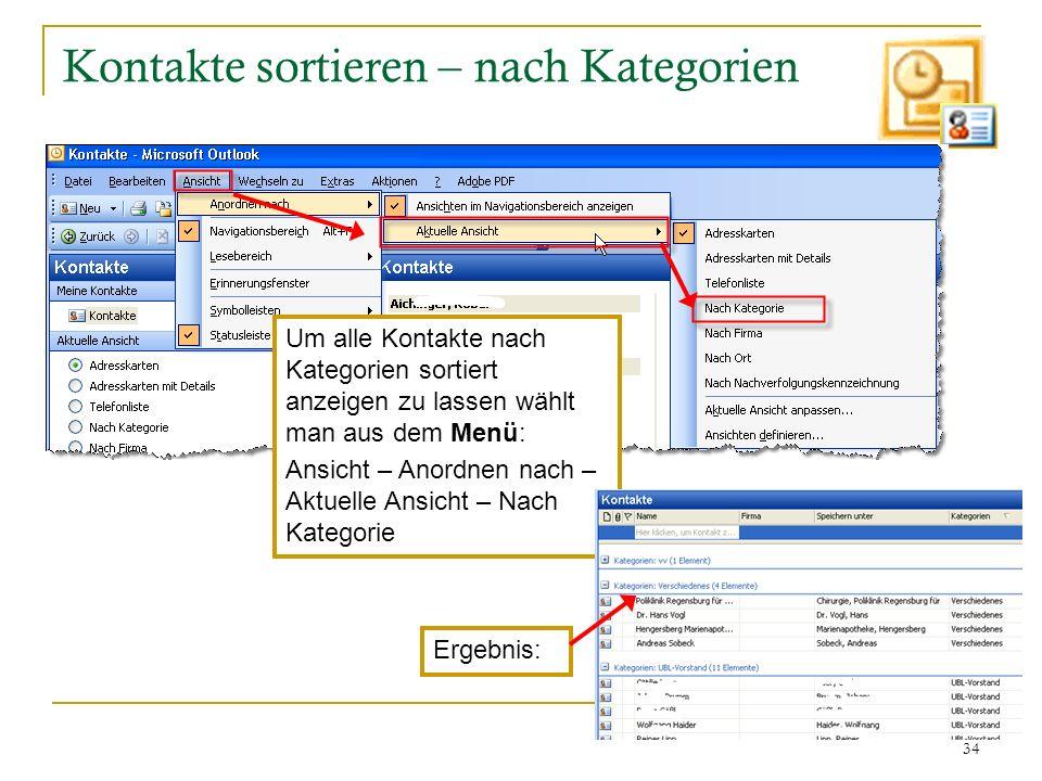 Kontakte sortieren – nach Kategorien