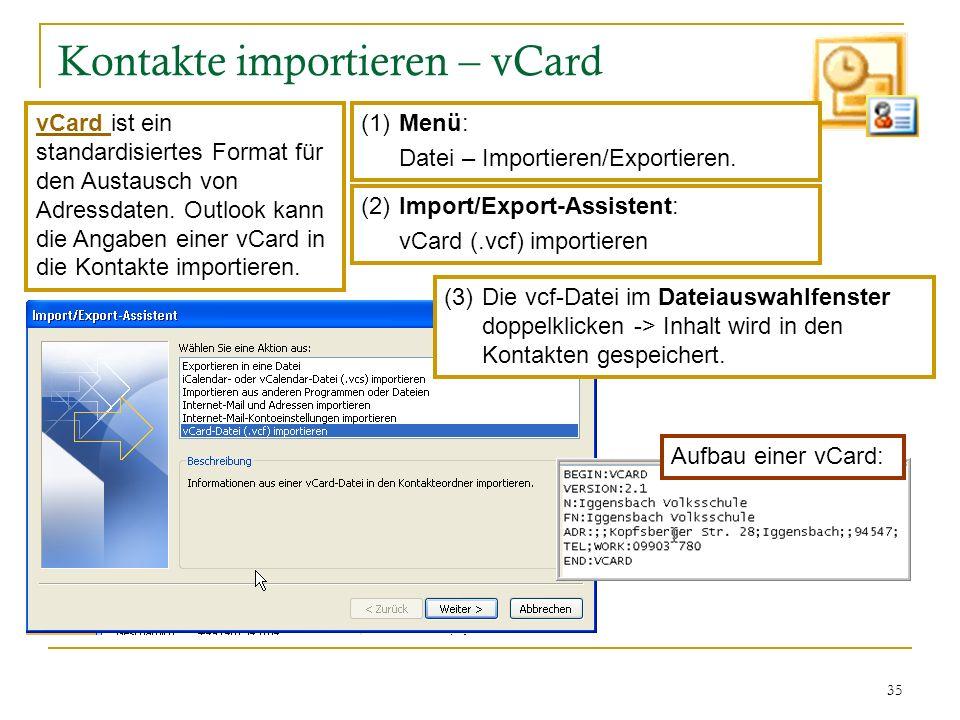 Kontakte importieren – vCard