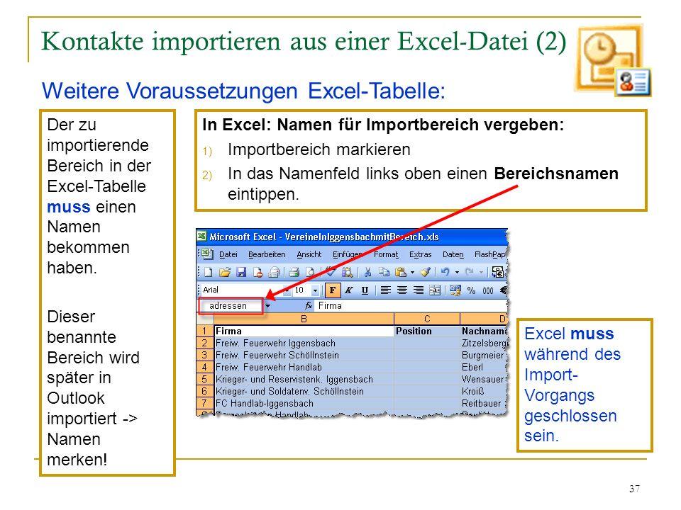 Kontakte importieren aus einer Excel-Datei (2)