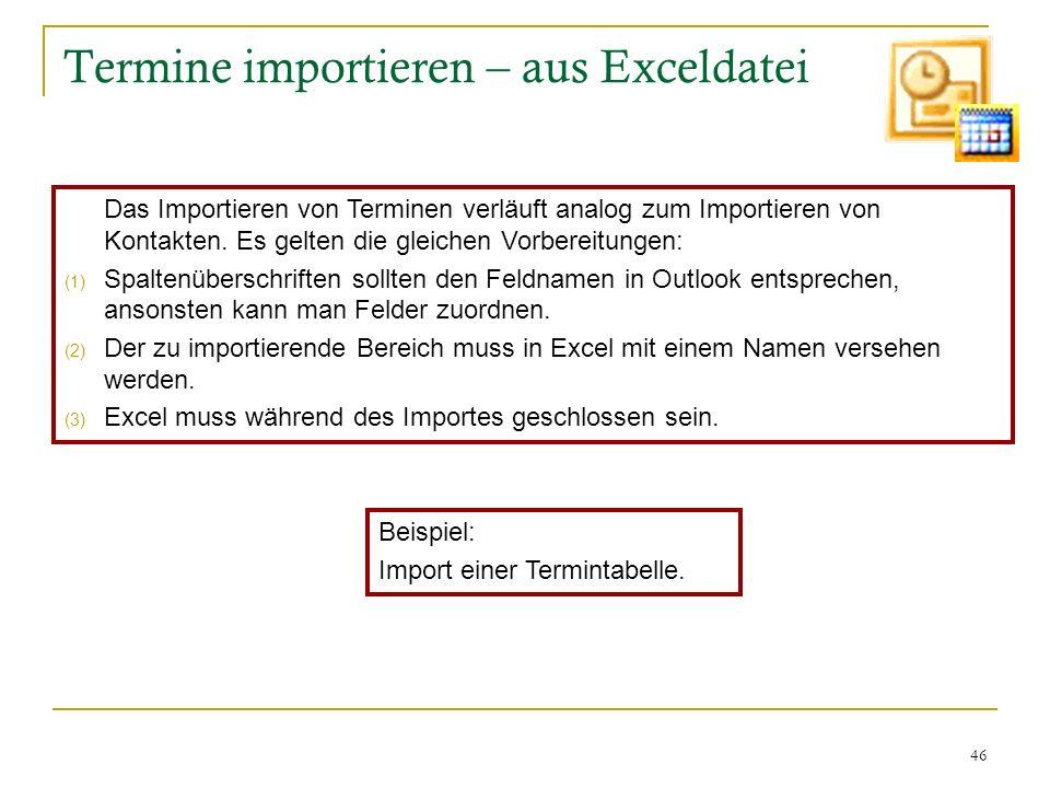 Termine importieren – aus Exceldatei
