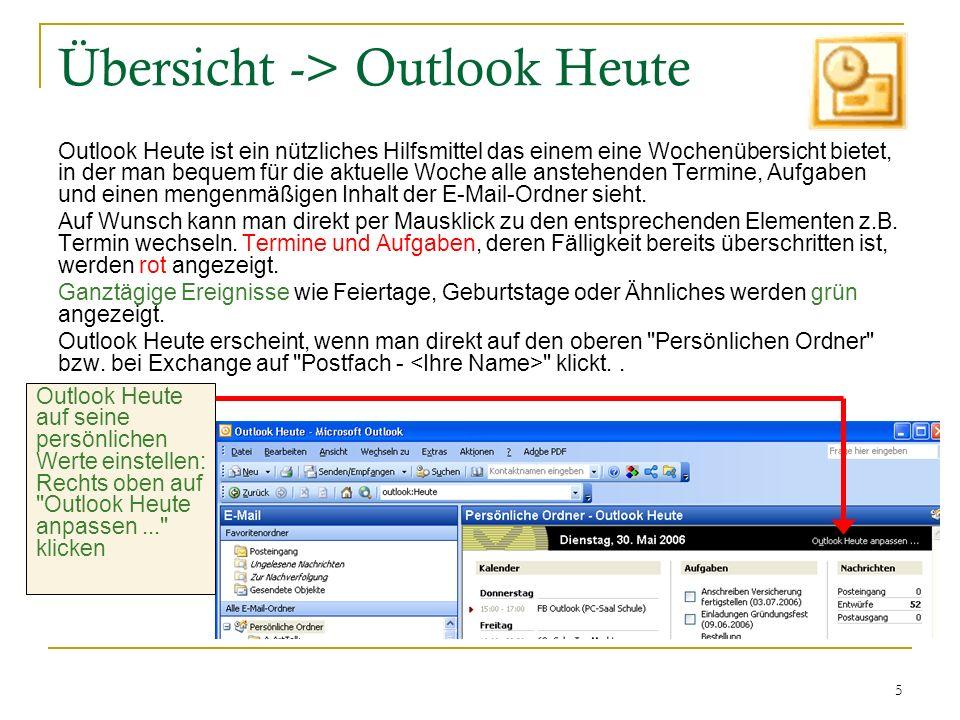 Übersicht -> Outlook Heute