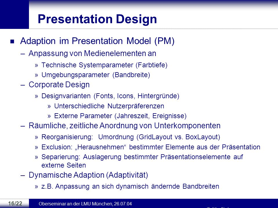 Presentation Design Adaption im Presentation Model (PM)