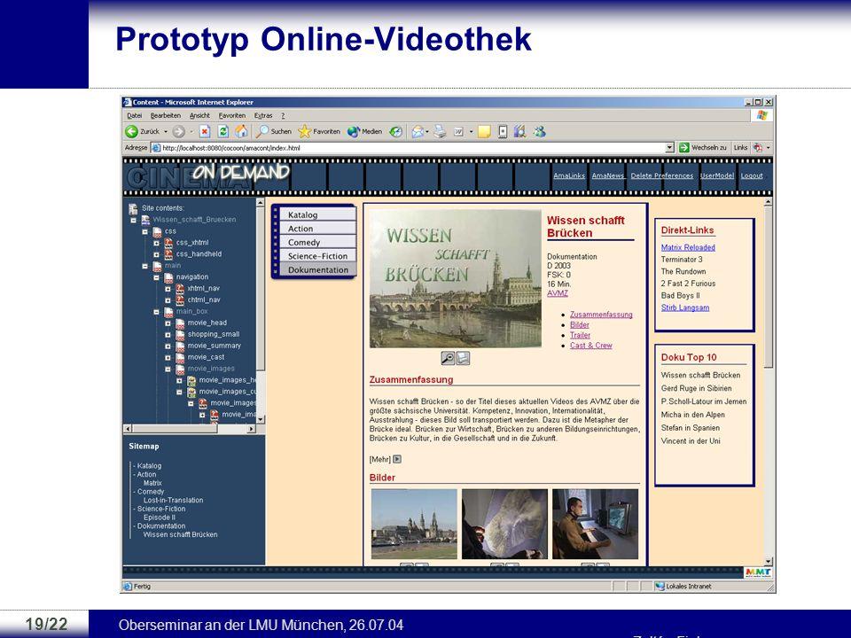 Prototyp Online-Videothek