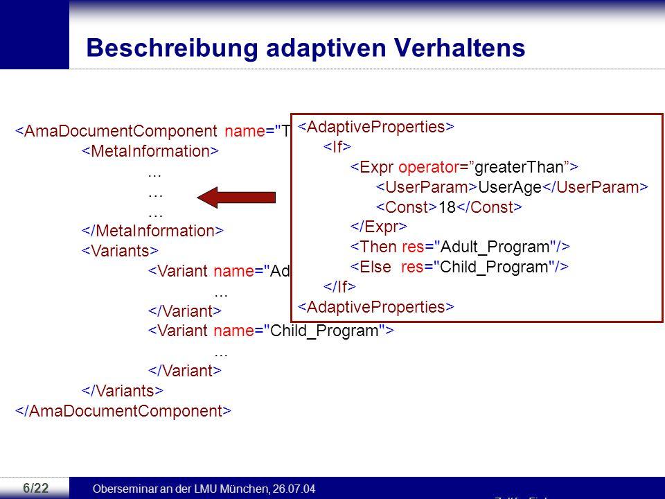 Beschreibung adaptiven Verhaltens