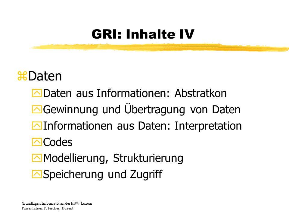 GRI: Inhalte IV Daten Daten aus Informationen: Abstratkon