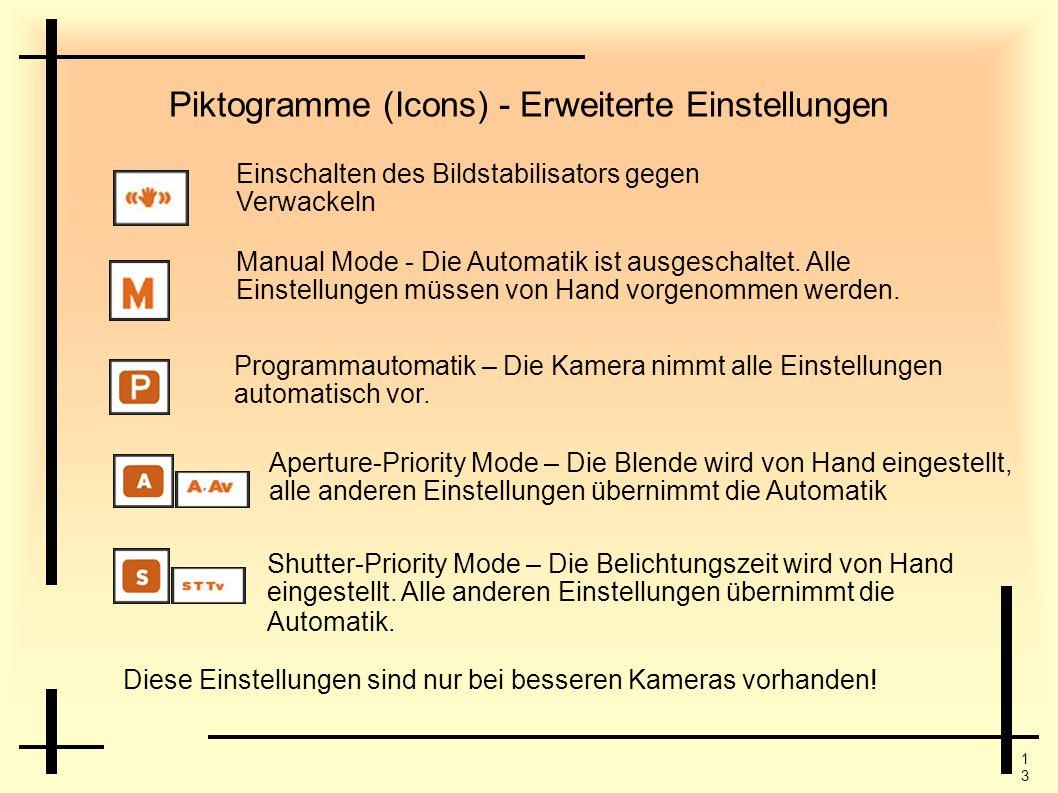 Piktogramme (Icons) - Erweiterte Einstellungen