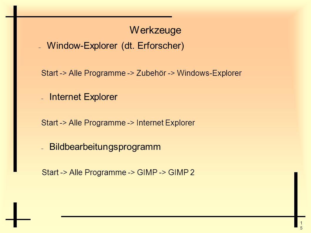 Werkzeuge Window-Explorer (dt. Erforscher) Internet Explorer