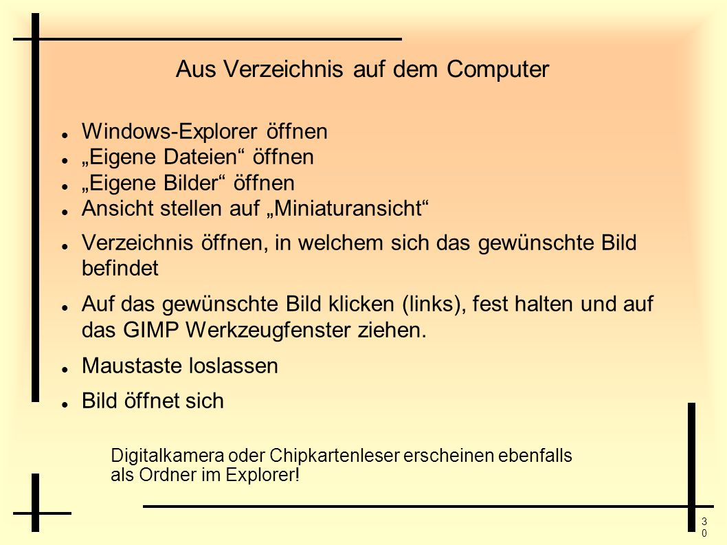 Aus Verzeichnis auf dem Computer