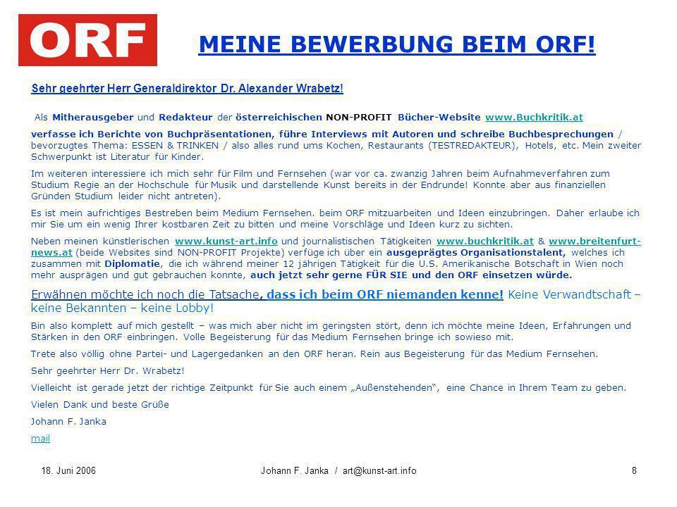 MEINE BEWERBUNG BEIM ORF!
