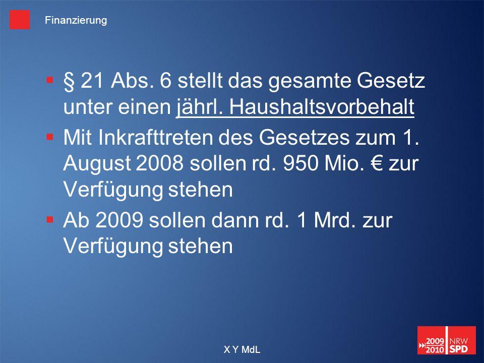 Ab 2009 sollen dann rd. 1 Mrd. zur Verfügung stehen