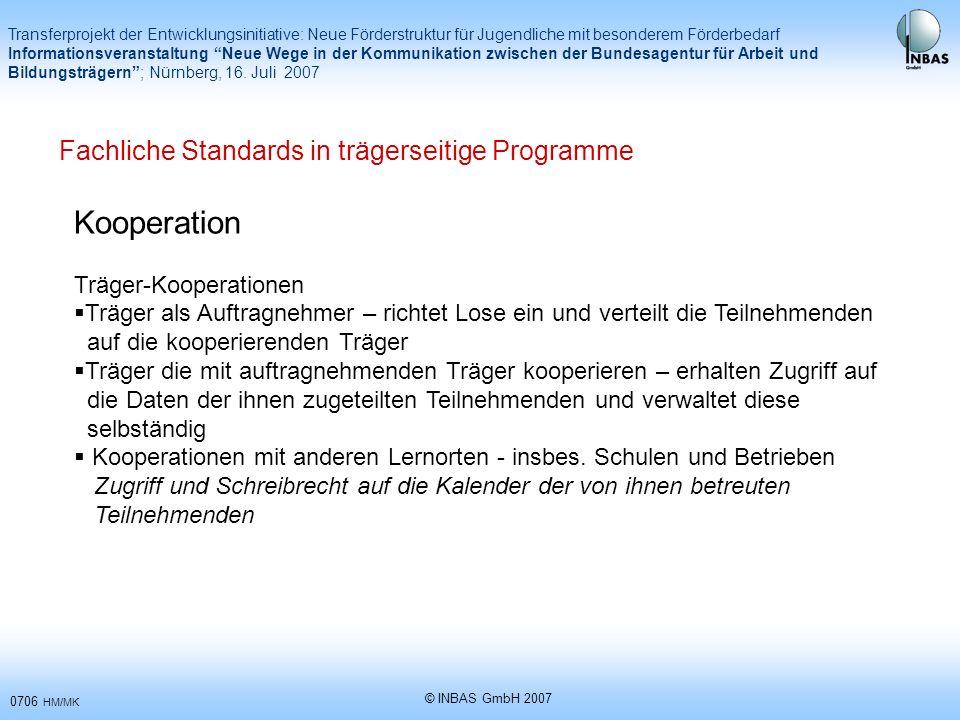 Kooperation Fachliche Standards in trägerseitige Programme